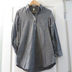 American Apparel grey popover tunic button down